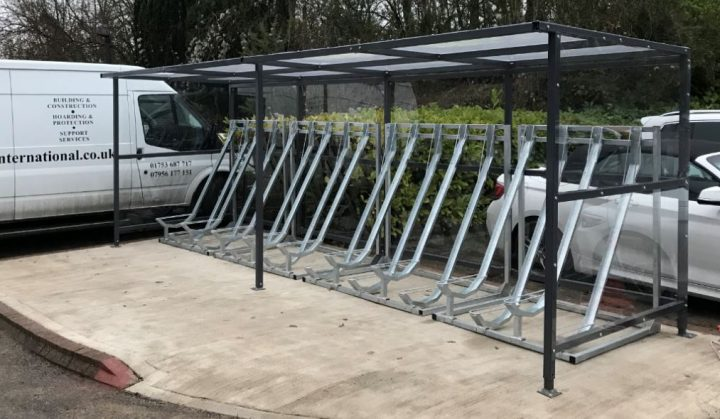 Semi Vertical Bike Rack Shelters