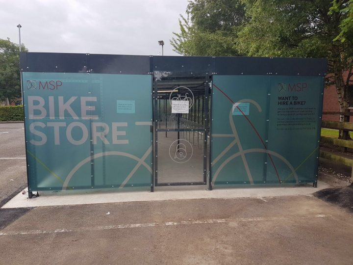 bike shelter with graphics